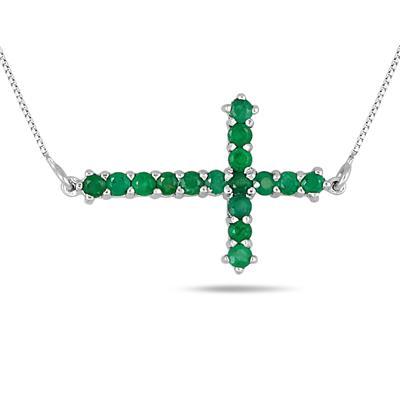 1.25 Carat Emerald Cross Pendant in .925 Sterling Silver