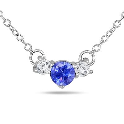 Lab Tanzanite and White Sapphire Three Stone Pendant in .925 Sterling Silver