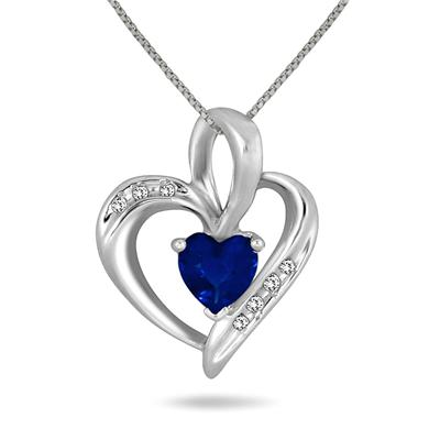 Created Heart Shape Sapphire and Genuine Diamond Pendant in .925 Sterling Silver