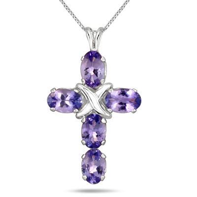 1.35 Carat Tanzanite Cross Pendant in .925 Sterling Silver