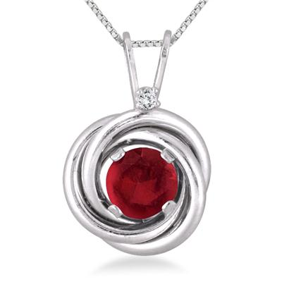 3/4 Carat Ruby and Diamond Infinity Circle Pendant in .925 Sterling Silver