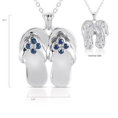 1/4 Carat Sapphire and Diamond Slipper Pendant in .925 Sterling Silver