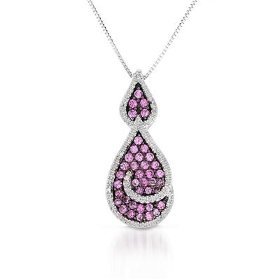 1.00 Carat Created Pink Sapphire and Diamond Pendant in .925 Sterling Silver