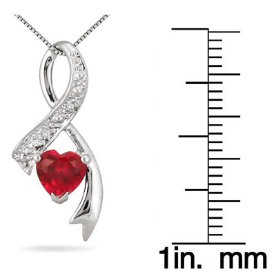 6MM Heart Shape Lab Created Ruby and Diamond Pendant in .925 Sterling Silver