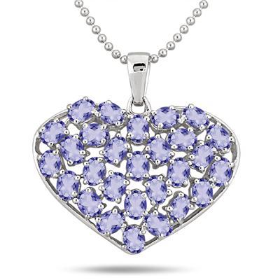 4.20 Carat Oval Shape Tanzanite Heart Pendant in .925 Sterling Silver