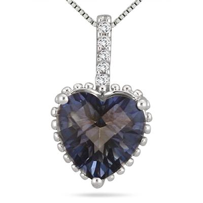 4 Carat Ocean Blue Quartz and White Topaz Pendant in .925 Sterling Silver