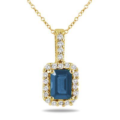 1/10 Carat Diamond and Sapphire Pendant in 10K Yellow Gold