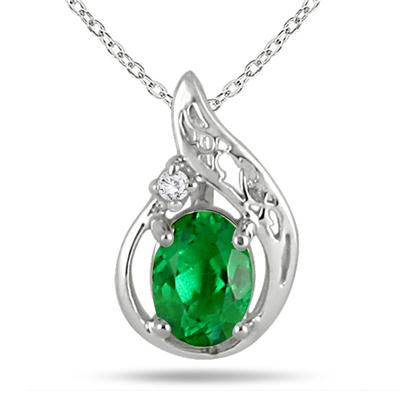 1 Carat Created Engraved Emerald and Diamond Pendant in .925 Sterling Silver