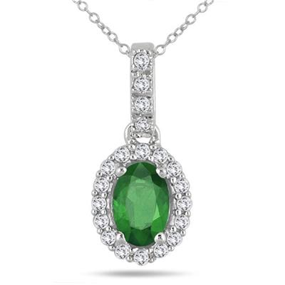 6x4MM Oval Emerald and Diamond Halo Pendant in 10K White Gold