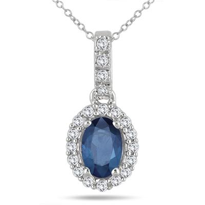 6x4MM Oval Sapphire and Diamond Halo Pendant in 10K White Gold