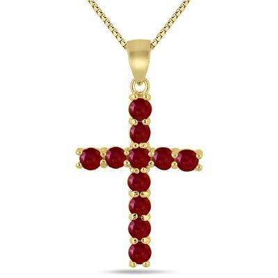 Ruby Cross Pendant in .925 Sterling Silver