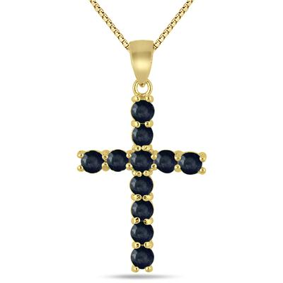 Black Sapphire Cross Pendant in .925 Sterling Silver