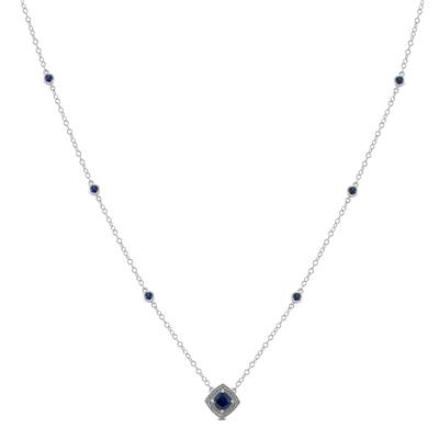 Lab Created Blue Sapphire Necklace in .925 Sterling Silver