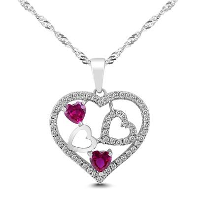 Lab Created Ruby and White Sapphire Heart Pendant in .925 Sterling Silver
