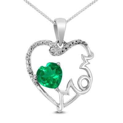 Diamond and Lab-Created Emerald Heart Mom Pendant
