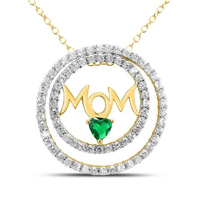 Created Emerald and White Sapphire Mom Pendant in Gold Plated .925 Sterling Silver