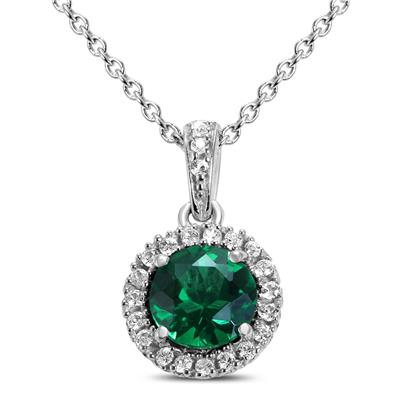 Lab Created Emerald and White Sapphire Halo Pendant Necklace in .925 Sterling Silver