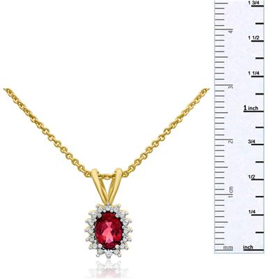 3/4 Carat Oval Created Ruby and Halo Diamond Necklace In Gold Overlay