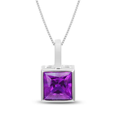 Princess Cut Amethyst Bezel Set Square Pendant in .925 Sterling Silver