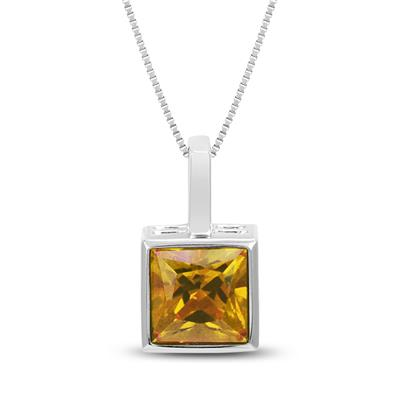 Princess Cut Citrine Bezel Set Square Pendant in .925 Sterling Silver
