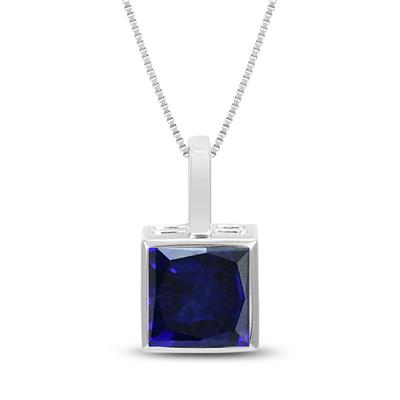 Princess Cut Lab Created Blue Sapphire Bezel Set Square Pendant in .925 Sterling Silver