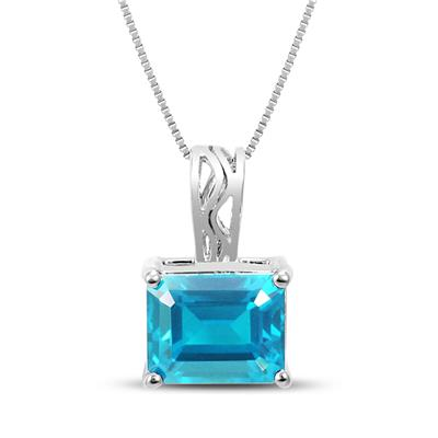 8x10 Emerald Cut Blue Topaz Pendant in .925 Sterling Silver