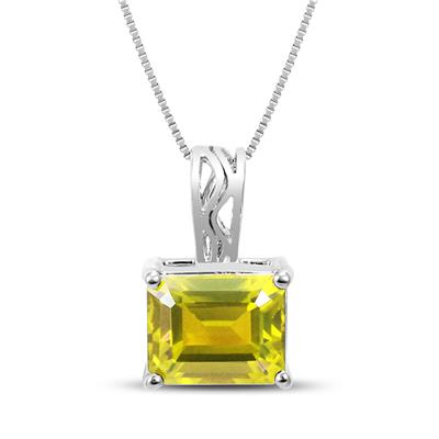 8x10 Emerald Cut Lemon Quartz Pendant in .925 Sterling Silver