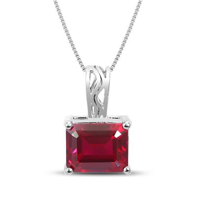 8x10 Emerald Cut Lab Created Ruby Pendant in .925 Sterling Silver