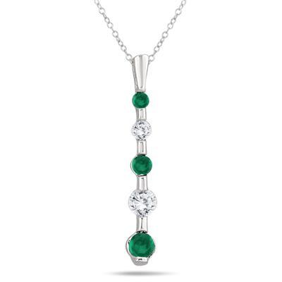 Diamond and Emerald 5 Stone Drop Pendant in 14K White Gold