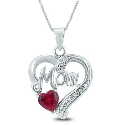 Lab Created Ruby and Genuine White Topaz Heart MOM Pendant in .925 Sterling Silver