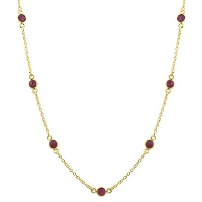 Genuine Ruby Station Necklace in Gold Plated .925 Sterling Silver