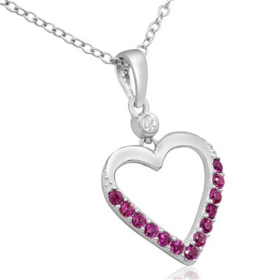 1/5 Carat TW Ruby and Diamond Heart Necklace In Sterling Silver