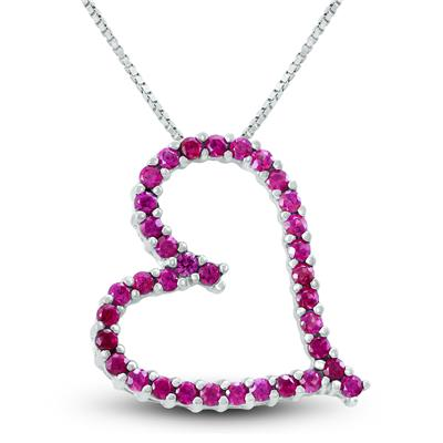 Lab Created Large Ruby Heart Slide Necklace In Sterling Silver