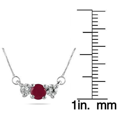 Ruby and Diamond Three Stone Pendant in 14K White Gold