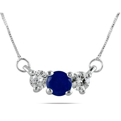 Sapphire and Diamond Three Stone Pendant in 14K White Gold
