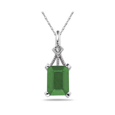2.15 Carat Emerald Cut Emerald and Diamond Pendant in 14K White Gold