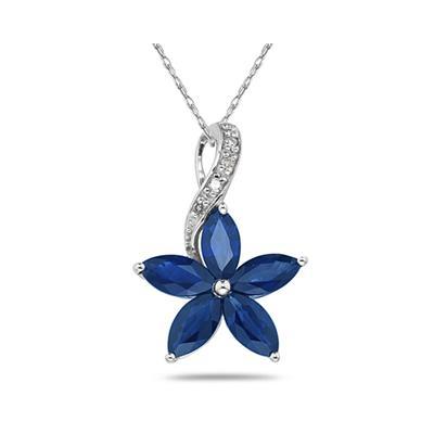 Sapphire and Diamond Flower Pendant in 10k White Gold