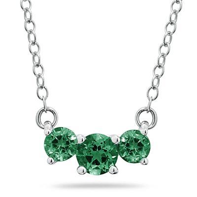 1 Carat TW Emerald Three Stone Pendant Necklace 14K White Gold