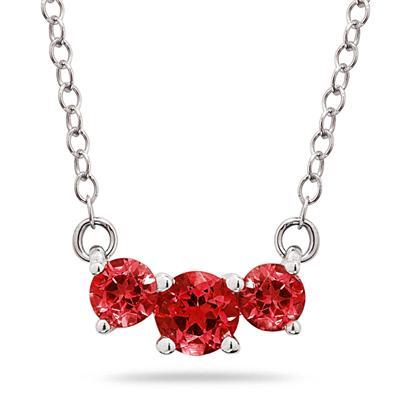1 CTW Ruby  Three Stone Pendant Necklace 14K White Gold