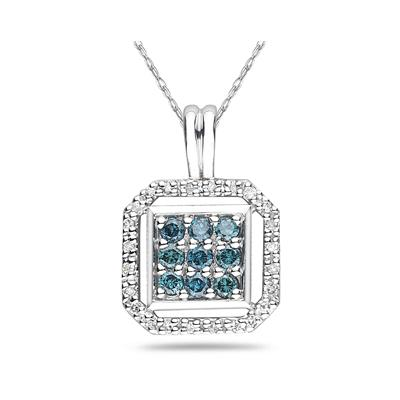 Blue and White Diamond Pendant in 10k White Gold