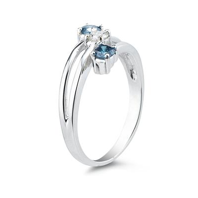 Three Stone Blue And White Diamond Ring in 10k White Gold