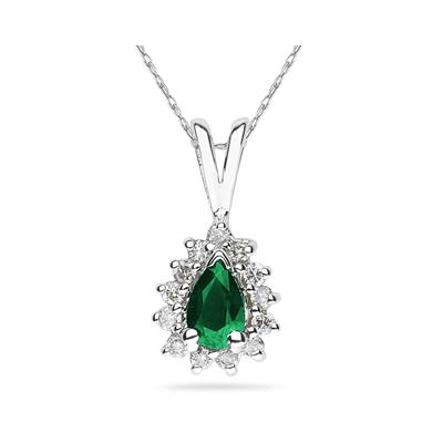 6X4mm Pear Shaped Emerald and Diamond Flower Pendant in 14k White Gold