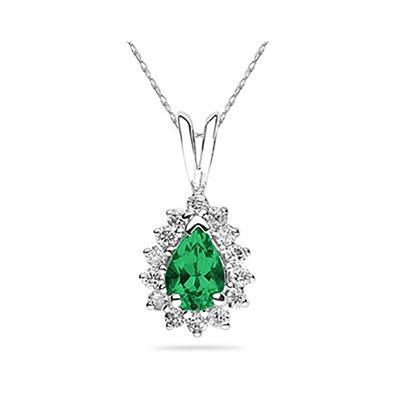 7X5mm Pear Shaped Emerald and Diamond Flower Pendant in 14k White Gold