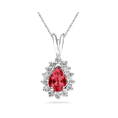 7X5mm Pear Shaped Ruby and Diamond Flower Pendant in 14k White Gold