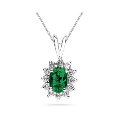 7X5mm Oval Shaped Emerald and Diamond Flower Pendant in 14k White Gold