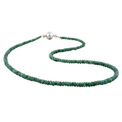 35 Carat All Natural Emerald Necklace with Magnetic  Clasp