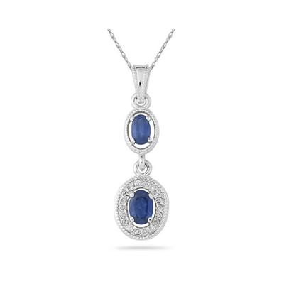 Sapphire and Diamond Royal Drop Pendant in 14K White Gold