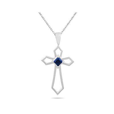 Sapphire Cross Pendant 10k White Gold