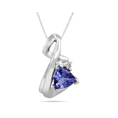 Tanzanite and Diamond Pendant in 10kt White Gold