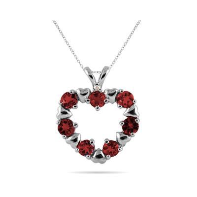 Diamond and Garnet Heart Pendant in 10kt White Gold